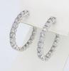 14K White Gold Diamond Hoop Earrings