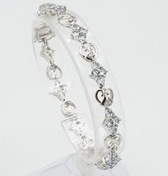 14KT White Gold Aquamarine & Diamond Bracelet
