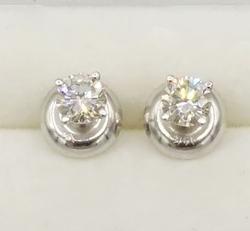 14KT White Gold Diamond Screw Back Earrings