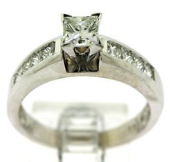 Princess Cut Diamond Ring with Side Stones