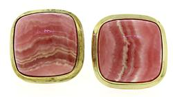 Yellow Gold Rhodochrosite Cushion Cab Earrings