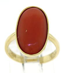 Oval Coral Cab Ring
