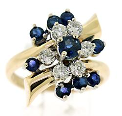 Lovely Blue Sapphire and Diamond Bypass Ring