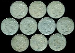 Lot of ten (10) nice 1926-S Peace Silver Dollars. Circs
