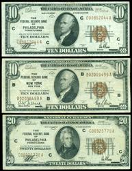 3 Nice Crisp National Currency Notes (2 $10's, & 1 $20)