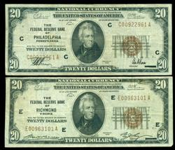 2 Diff.1929 Series $20 National Currency Notes