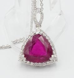 Rubellite Tourmaline & Diamond Pendant in Platinum