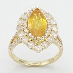 Gleaming 2.52ct Yellow Sapphire and Diamond 14kt Yellow Gold Ring