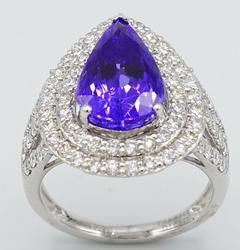 Elegant Pear Tanzanite and Diamond Platinum Cocktail Ring