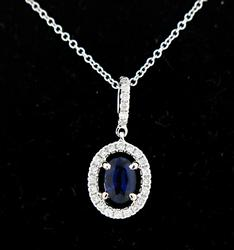 Sapphire and Oval Halo Diamond Pendant Necklace
