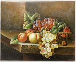 Stretched Fruits Still life Oil on Canvas