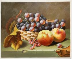Stretched Fruits Still life Oil on Canvas.