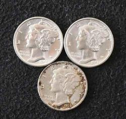 1936 S 1942 and 1943 Frosty BU Mercury Dimes