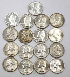 17 Unc and Proof Silver Washington Quarters