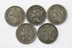5 Nicer 3 Cent Nickels