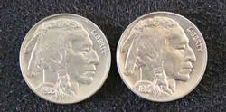Choice Gem BU 1927 and 1935 Buffalo Nickels