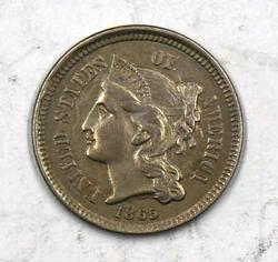 Choice 1865 3 Cent Nickel with HUGE Die Clash