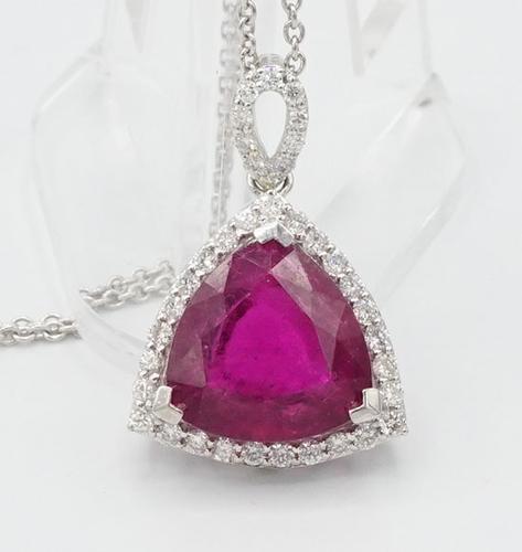Rubellite Tourmaline & Diamond Pendant in Platinum