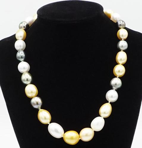 Tahitian & South Pearl Necklace in 14KT White Gold