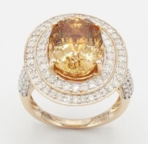14KT Rose Gold Morganite & Diamond Ring