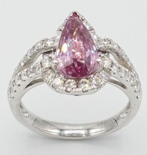 Beautiful Pink Sapphire and Diamond Platinum Ring