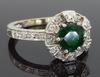 Vintage 18K White Gold Emerald & Diamond Ring