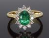 14K Yellow Gold Emerald and Diamond Halo Ring