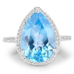 Stunning 6+ CT Swiss Blue Topaz Cocktail Ring