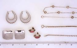 Lot of Three Pairs of Earrings & Three Sterling Chains