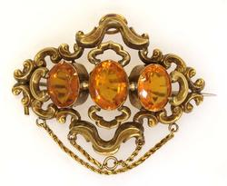 Antique-Style Gold Broach with Citrines