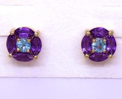 Modern Amethyst and Blue Topaz Earrings in Gold
