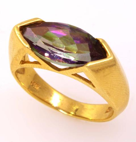 Mystic Topaz Ring in Gold, Size 5