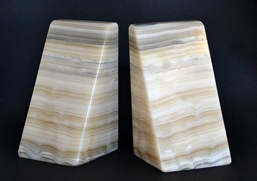 Set of Beige Marble Bookends With Gray & Green Veining