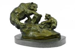 Bronze Sculpture Mother Bear and Cub