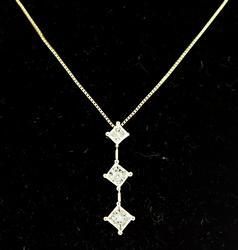 Princess Cut Past Present Future Diamond Necklace