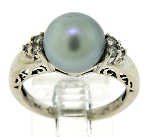 Grey Pearl Ring with Diamond Accents