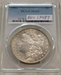 1902 Morgan Dollar PCGS MS-61, very scarce date.