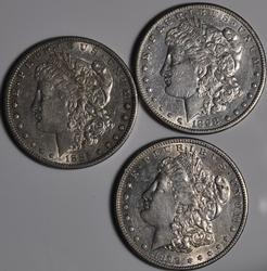3 S Mint Morgans 1885 S 1898 S and 1899 S