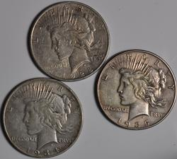 1928 S 1934 S and 1935 Peace Dollars