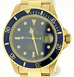 Men's Rolex 18kt Submariner With Blue Dial