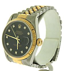 Rolex Datejust Two Tone 18kt Black Diamond Dial Watch