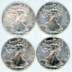 4 Diff. Superb Gem BU $1 Amer. Silver Eagles 2009-2015.