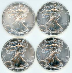 4 Diff. Superb Gem BU $1 Amer. Silver Eagles 2009-2015.