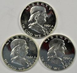 3 Cameo Proof Franklin Half Dollars: 2 1961 & 1962