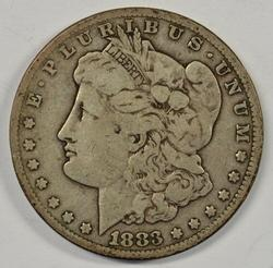 Scarce 1883-CC Morgan Silver Dollar. Nice circ