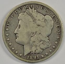 Scarce 1891-CC Morgan Silver Dollar in circ