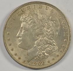 Semi-key creamy-white BU 1902-P Morgan Silver Dollar.