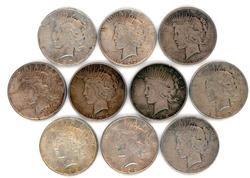 Half Roll of ten (10) Peace Silver Dollars in circ