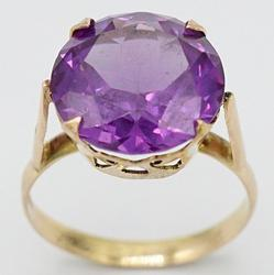 9kt Rose Gold Large Purple Gemstone Ring