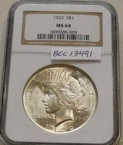 1922 Peace Dollar NGC MS-64
